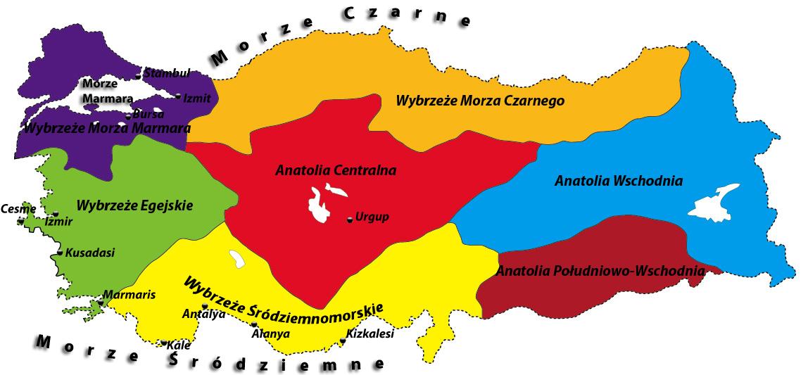 regiony turcji mapa