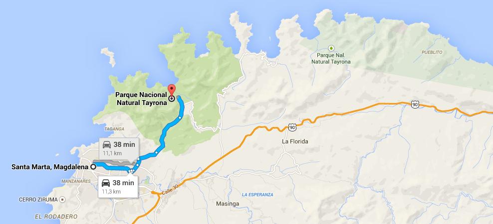 dojazd do park tayrona