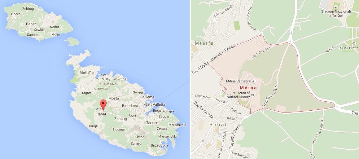 mdina mapa malta
